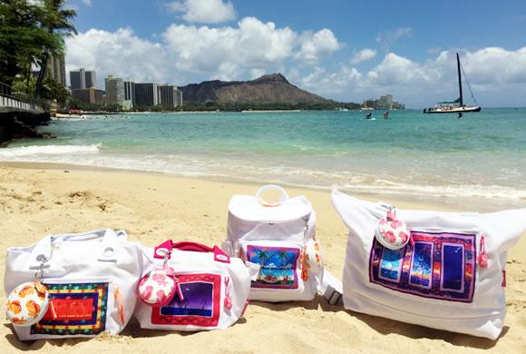Shuji Hamamoto氏のアートをあしらったメイド・イン・ハワイの素敵なバッグ&小物